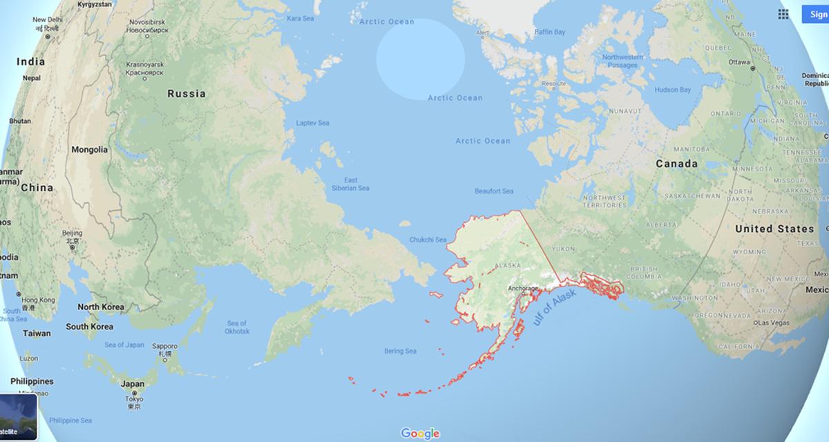 Google map showing Alaska